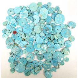 Large Collection of Turquoise Disk Beads