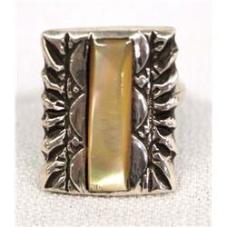 Navajo Silver Gold Lip Shell Ring, Size 6.5