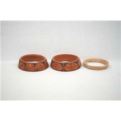 3 Mexican Mata Ortiz Pottery Display Rings