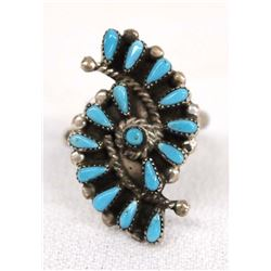 Native American Zuni Silver Turquoise Ring, Size 7