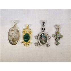 4 Sterling Silver Multi Stone Pendants