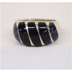Mexican Sterling Lapis & Jet Inlay Ring, Size 10