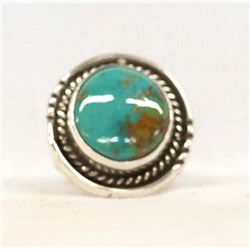 Native American Navajo Silver Turquoise Ring, Sz 7