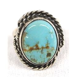 Native American Navajo Silver Turquoise Ring, Sz 6