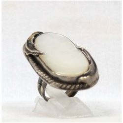 Antique Navajo Sterling Mother of Pearl Ring, 5.5
