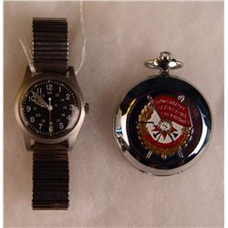 US Military Wristwatch and Russian Pocket Watch