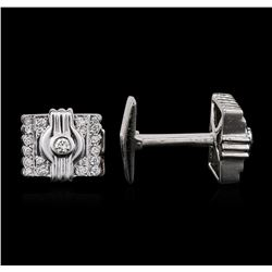 18KT White Gold 0.60ctw Diamond Cuff Links