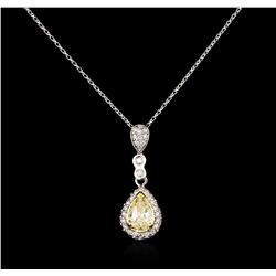 1.52ctw Fancy Yellow Diamond Pendant With Chain - 14KT Two-Tone Gold