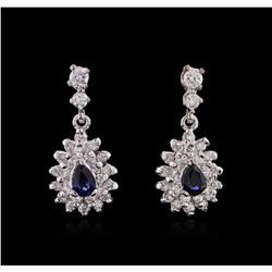 14KT White Gold 1.16ctw Sapphire and Diamond Earrings