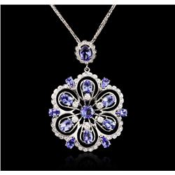 14KT White Gold 8.42ctw Tanzanite and Diamond Pendant With Chain