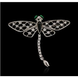 14KT White Gold 0.27ctw Diamond, Onyx and Emerald Butterfly Pin