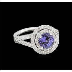 14KT White Gold 1.20ct Tanzanite and Diamond Ring