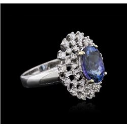 18KT White Gold 3.53ct Tanzanite and Diamond Ring