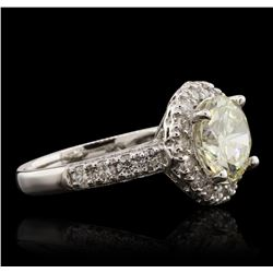 14KT White Gold 2.22ct SI-1/Light Yellow Diamond Ring