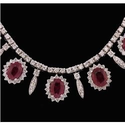 14KT White Gold GIA Certified 12.20ctw Ruby and Diamond Necklace