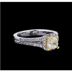1.43ctw Fancy Light Yellow Diamond Ring - 14KT Two-Tone Gold