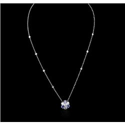 14KT White Gold 1.44ctw Tanzanite and Diamond Necklace