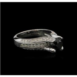 1.86ctw Black Diamond Ring - 14KT White Gold