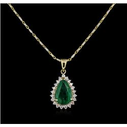 2.07ct Emerald and Diamond Pendant With Chain - 14KT Yellow Gold
