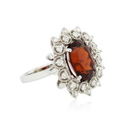 14KT White Gold 5.43ct Spessartite and Diamond Ring
