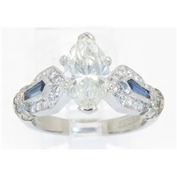 EGL Cert 2.08ctw Diamond and Sapphire Ring - Platinum