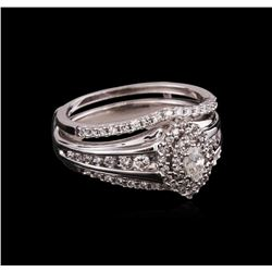 0.81ctw Diamond Ring and Wedding Band - 14KT White Gold