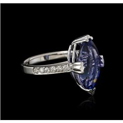 14KT White Gold 5.20ct Tanzanite and Diamond Ring
