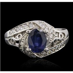 14KT White Gold 1.51ct Sapphire and Diamond Ring