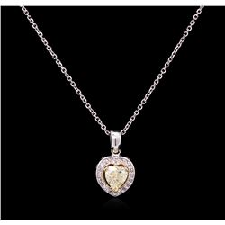 1.15ctw Yellow Diamond Pendant With Chain - 14KT White Gold