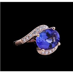 5.40ct Tanzanite and Diamond Ring - 14KT Rose Gold