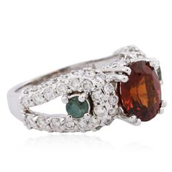 14KT White Gold 2.49ct Garnet, Alexandrite and Diamond Ring