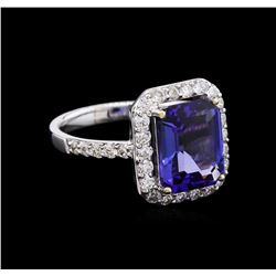 3.41ct Tanzanite and Diamond Ring - 18KT White Gold