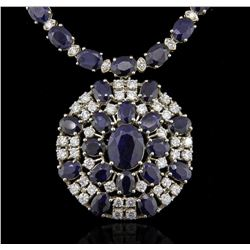 14KT White Gold 85.76ctw Sapphire and Diamond Necklace
