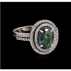 1.98ct Alexandrite and Diamond Ring - 14KT White Gold