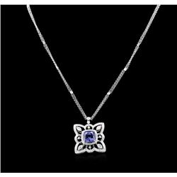 5.10ct Tanzanite and Diamond Pendant With Chain - 18KT White Gold