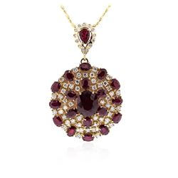 14KT Yellow Gold 35.13ctw Ruby and Diamond Pendant With Chain