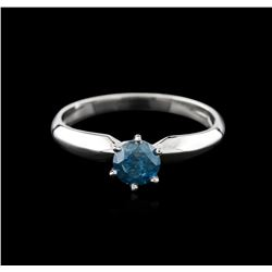 14KT White Gold 0.60ct Round Cut Fancy Blue Diamond Solitaire Ring