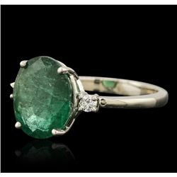 14KT White Gold 2.51ct Emerald and Diamond Ring