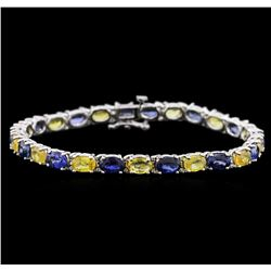 14KT White Gold 14.97ctw Blue and Yellow Sapphire Bracelet