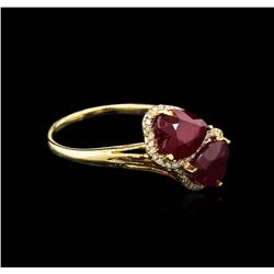 4.63ctw Ruby and Diamond Ring - 14KT Yellow Gold