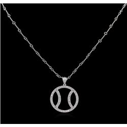 1.00ctw Basketball Diamond Pendant With Chain - 14KT White Gold