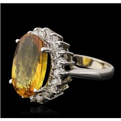 14KT White Gold 6.72ct Yellow Sapphire and Diamond Ring