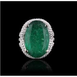 14KT White Gold 13.24ct Emerald and Diamond Ring
