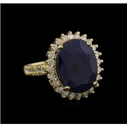 9.19ct Blue Sapphire and Diamond Ring - 14KT Yellow Gold