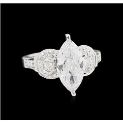 EGL USA Cert 3.10ctw Diamond Ring - 18KT White Gold