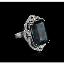 14KT White Gold 32.69ct Topaz and Diamond Ring