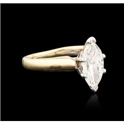14KT Two-Tone Gold 1.51ct Marquise Cut Diamond Solitaire Ring
