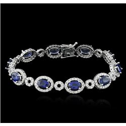 14KT White Gold 8.85ctw Sapphire and Diamond Bracelet