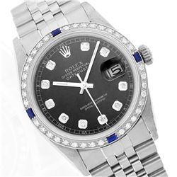 Rolex Stainless Steel 1.00ctw Diamond and Sapphire DateJust Men's Watch