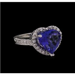 14KT White Gold 5.91ct Tanzanite and Diamond Ring